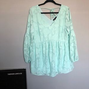 Lane Bryant Mint Green Floral Empire Waist Top